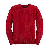 [폴로]POLO 폴로랄프로렌 말자수 꽈배기 니트 스웨터 긴팔티셔츠 레드 POLO 남녀공용 정품 국내배송