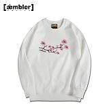 [엠블러]AMBLER CLASSIC 벚꽃 사쿠라 자수 맨투맨 티셔츠 AMM418-화이트 크루넥 특양면 기모