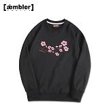 [엠블러]AMBLER CLASSIC 벚꽃 사쿠라 자수 맨투맨 티셔츠 AMM418-블랙 크루넥 특양면 기모