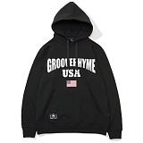 [그루브라임]Grooverhyme -2017 GROOVE RHYME USA (BLACK) [GH003F13BK] 후드티 후디