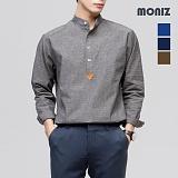 [모니즈] 톤다운 잔줄 레더 헨리넥 셔츠 SHT510