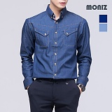 [모니즈] 체크 플래킷 데님셔츠 SHT405