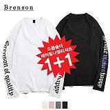 [1+1][Brenson]브렌슨 - 드롭숄더 레터링 나염 롱슬리브 티셔츠 4컬러