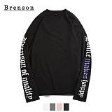 [Brenson]브렌슨 - 드롭숄더 레터링 나염 롱슬리브 티셔츠 4컬러