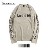 [Brenson]브렌슨 - 드롭숄더 레터링 빈티지나염 10수 티셔츠 4컬러