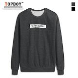 탑보이 - 블랙차콜 라운드 맨투맨 티셔츠 (ZA104)