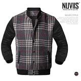 [뉴비스] NUVIIS - 세미 배색 글렌체크 버튼 블루종 (DB033JP)
