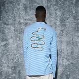 [어라운드80] AROUND 80 - SNAKE ROSE T-SHIRTS_BLUE 자수 긴팔티셔츠