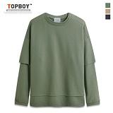 [탑보이] TOPBOY - 오버핏 레이어드 맨투맨 티셔츠 (KBN239)