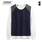 [탑보이] TOPBOY - 엠보패턴 배색 맨투맨 (KBN241)