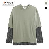 [탑보이] TOPBOY - 잔줄 배색 레이어드 긴팔티셔츠 (KBN236)