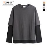 [탑보이] TOPBOY - 오버핏 크온 레이어드 긴팔티셔츠 (KBN237)