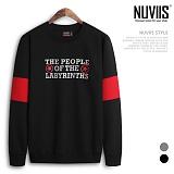 [뉴비스] NUVIIS - 오프 소매배색 맨투맨티셔츠 (RO034MT)
