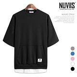 [뉴비스] NUVIIS - 베이직 라운드 레이어드 7부 티셔츠 (TR175TS)