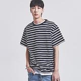 [어반플레이어스]10s STRIPE SHORT T-SHIRTS (NAVY) 10수 스트라이프 반팔티 티셔츠
