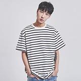 [어반플레이어스]10s STRIPE SHORT T-SHIRTS (IVORY) 10수 스트라이프 반팔티 티셔츠