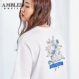 [엠블러]AMBLER 신상 자수 반팔 티셔츠 AS414-화이트