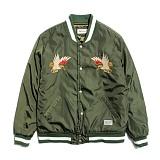 [세인트페인]SAINTPAIN - SP HOMESICK SVNR STADIUM JKT-KHAKI 스카쟌 수베니어 스타디움 자켓 재킷