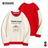 [테너티] 남녀공용 3단쭈리 원더랜드 맨투맨 (T021)
