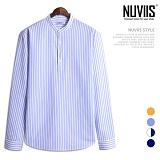 [뉴비스] NUVIIS - 컬러 헨리넥 세로줄 긴팔셔츠 (JS032SH)