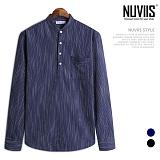 [뉴비스] NUVIIS - 찬스 헨리넥 세로줄 긴팔셔츠 (JS029SH)