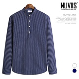 [뉴비스] NUVIIS - 화랑 헨리넥 세로줄 긴팔셔츠 (JS028SH)