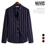 [뉴비스] NUVIIS - 로드 세로줄 긴팔 헨리넥 셔츠 (JS035SH)