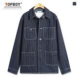 [탑보이] TOPBOY - 스트라이프 데님 코치 자켓 (SE006)
