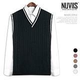 [뉴비스] NUVIIS - 스쿨라인 꽈배기 니트 조끼 (DS120VS)