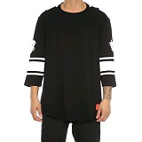 [크룩스앤캐슬]Crooks and Castles 3/4 SLV FOOTBALL JERSEY TOECUTTER BLACK 7부티셔츠 긴팔티