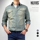 뉴비스 - 포인트 데님 긴팔 셔츠 (DB034SH)
