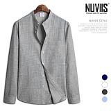 뉴비스 - 스트라이프 심플 헨리넥 긴팔 셔츠 (MS054SH)