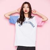 [모티브]MOTIVE - COLOR BLOCK SST WHITE PINK 반팔티 티셔츠