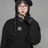 [엠에스유엘]MSUL-로고와펜 맨투맨 정사각형(블랙) 크루넥 스��셔츠