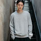 [엠에스유엘]MSUL-불박 입체로고 맨투맨 티셔츠 (그레이) 크루넥 스��셔츠