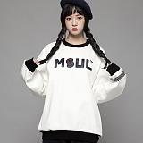 [엠에스유엘]MSUL-홀로그램 로고 스웨트 셔츠 (오프화이트) 크루넥 맨투맨