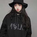 [엠에스유엘]MSUL-로고 기모후드 티셔츠 (블랙) 후디