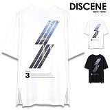 [DISCENE] 디씬 다이애그널 옆지퍼 오버핏 반팔티셔츠 2컬러