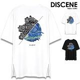 [DISCENE] 디씬 컨투어 옆지퍼 오버핏 반팔티셔츠 2컬러