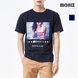 [모니즈] MONIZ 성조기 프린팅 반팔 티셔츠 TSB015