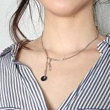[러쉬오프] RUSHOFF Unique Charming Silver Necklace - Blackstone / 유니크 챠밍 실버 목걸이 - 블랙스톤