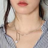 [러쉬오프] RUSHOFF Unique Charming Silver Necklace - Whitestone / 유니크 챠밍 실버 목걸이 - 화이트스톤