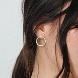 [러쉬오프] RUSHOFF Pure Silver Round Earring (92.5) /  퓨어 실버 라운드 귀걸이(은침)