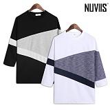 [뉴비스] NUVIIS - 트라이앵클 오버핏 7부 티셔츠 (RT164TS)