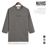[뉴비스] NUVIIS - 10수 유니벌스 레이어드 7부 티셔츠 (RT162TS)