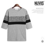 [뉴비스] NUVIIS - 와플 사단 배색 7부 티셔츠 (RT174TS)