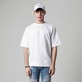 [티아즈] Teeaz - 1/2 Roll-up Sweatshirt (White) 무지티 롤업 반팔맨투맨 반팔티