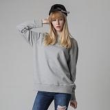 [티아즈] Teeaz - 3 Layer Zzury Over Fit Sweatshirt (Grey) 오버핏 무지 맨투맨 크루넥 스��셔츠