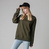 [티아즈] Teeaz - Double Layered Napping Sweatshirt (khaki) 무지 맨투맨 크루넥 스��셔츠