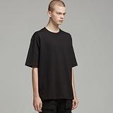 [티아즈] Teeaz - 45수 Double cotton layered 1/2 Round Tee (Black) 레이어드 반팔티 티셔츠